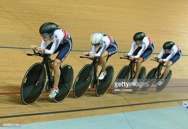 Laura Trott leads Elinor Barker Katie Archibald and Joanna Rowsell of the Great Britain Cycling Team in the Women's Team Pursuit First Round during...