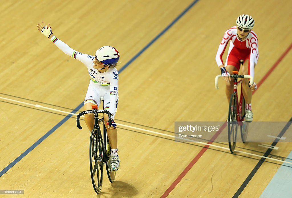 Laura Trott of Great Britain celebrates crosses the finishline to win the Elimination race in the Women's Omnium during day two of the UCI Track Cycling World Cup at Sir Chris Hoy Velodrome on November 17, 2012 in Glasgow, Scotland.