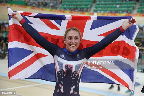 Laura Trott of Great Britain celebrates victory in the Women's Omnium at Rio Olympic Velodrome on August 16, 2016 in Rio de Janeiro, Brazil.