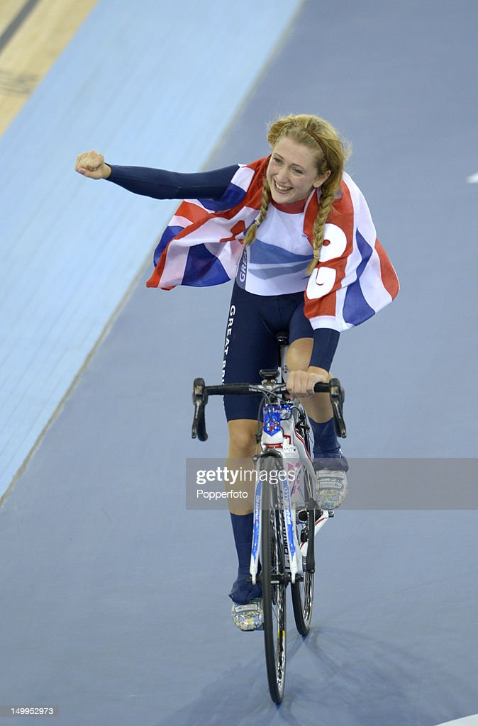 Laura Trott of Great Britain celebrates winning the Gold medal in the Women's Omnium Track Cycling 500m Time Trial on Day 11 of the London 2012 Olympic Games at Velodrome on August 7, 2012 in London, England.