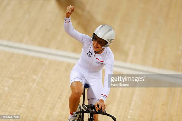 Laura Trott of Great Britain celebrates winning the Women's Team Pursuit on day one of the UCI Track Cycling World Cup at the Lee Valley Velopark...