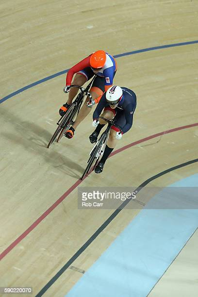 Laura Trott of Great Britain competes against Kirsten Wild of the Netherlands during the Women's Omnium Points race on Day 11 of the Rio 2016 Olympic...