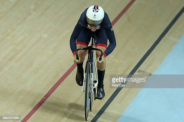 Laura Trott of Great Britain competes during the Women's Omnium Flying Lap 56 race on Day 11 of the Rio 2016 Olympic Games at the Rio Olympic...