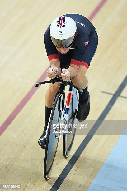 Laura Trott of Great Britain competes in the Cycling Track Women's Omnium Individual Pursuit 26 on Day 10 of the Rio 2016 Olympic Games at the Rio...
