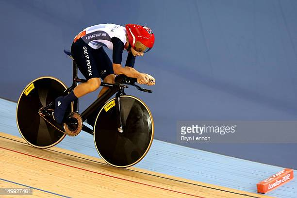 Laura Trott of Great Britain competes in the Women's Omnium Track Cycling 3km Individual Pursuit on Day 11 of the London 2012 Olympic Games at...