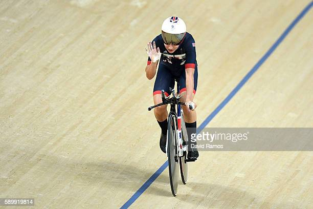 Laura Trott of Great Britain competes reacts after the Cycling Track Women's Omnium Individual Pursuit 26 on Day 10 of the Rio 2016 Olympic Games at...