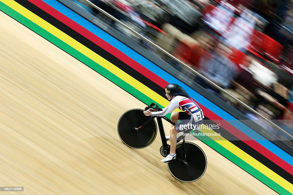 Laura Trott of Great Britain cycling team competes in the Womens Omnium Flying Lap race during day 5 of the UCI Track Cycling World Championships held at National Velodrome on February 22, 2015 in Paris, France.