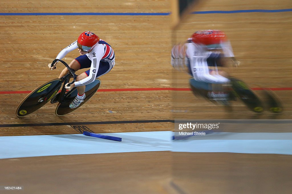Laura Trott of Great Britain in action during the flying lap leg of the women's omnium race during day four of the UCI Track World Championships at Minsk Arena on February 23, 2013 in Minsk, Belarus.