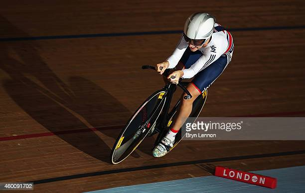 Laura Trott of Great Britain in action in the 500m Time Trial round of the Omnium on day three of the UCI Track Cycling World Cup at the Lee Valley...