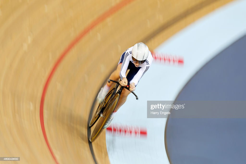 Laura Trott of Great Britain in action on her way to winning the Women's Omnium Individual Pursuit on day two of the UCI Track Cycling World Cup at the Lee Valley Velopark Velodrome on December 6, 2014 in London, England.