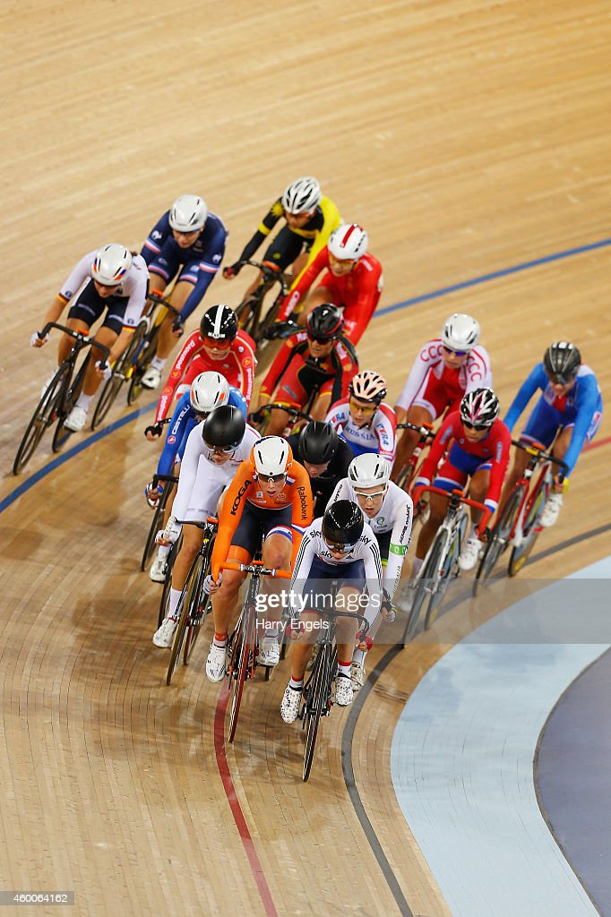Laura Trott of Great Britain leads the field during the Women's Omnium Elimination Race on day two of the UCI Track Cycling World Cup at the Lee Valley Velopark Velodrome on December 6, 2014 in London, England.