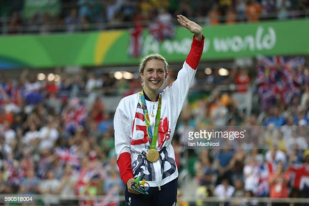 Laura Trott of Great Britain poses with her Gold medal after her victory in the Women's Omnium at Rio Olympic Velodrome on August 16 2016 in Rio de...