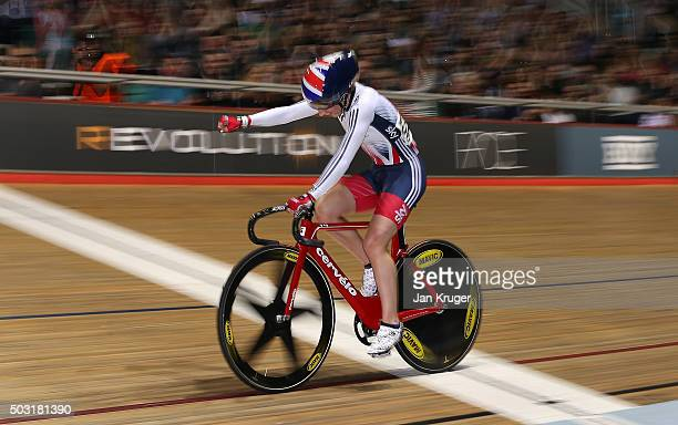 Laura Trott of Great Britain punches the air as she wins the womens Elimination Race during the Elite Track Cycling Revolution Series at National...