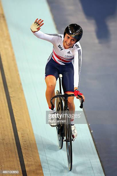 Laura Trott of Great Britain waves to the crowd after winning the Omnium on day three of the UCI Track Cycling World Cup at the Lee Valley Velopark...