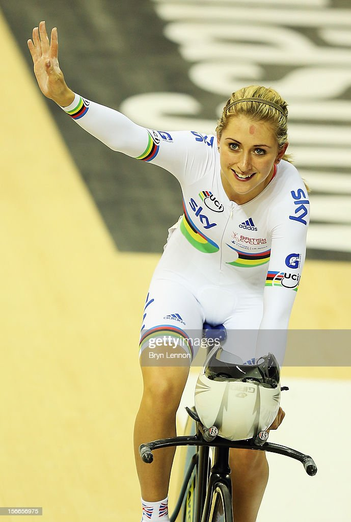 Laura Trott of Great Britaincelebrates winning the Women's Omnium on day three of the UCI Track Cycling World Cup at the Sir Chris Hoy Velodrome on November 18, 2012 in Glasgow, Scotland.