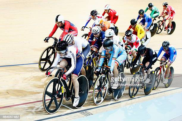 Laura Trott of the Great Britain Cycling Team leads and goes on to win the Women's Omnium Elimination Race during day 4 of the UCI Track Cycling...