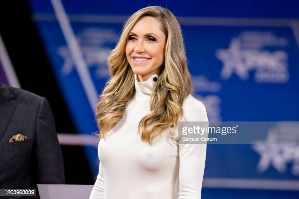 Laura Trump President Donald Trumps daughter inlaw and member of his 2020 reelection campaign walks on stage for a conversation with Matt Schlapp...