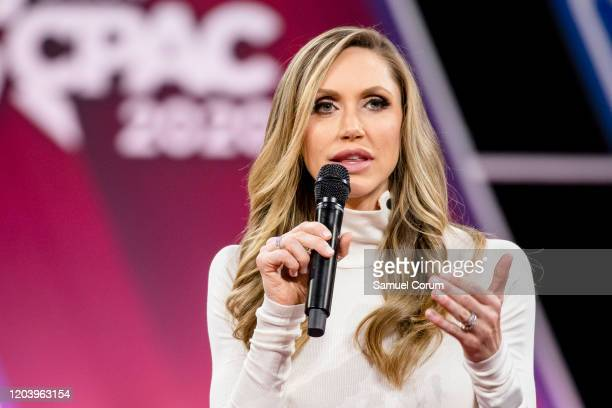 Laura Trump President Donald Trumps daughter inlaw and member of his 2020 reelection campaign speaks on stage with Brad Parscale campaign manager for...