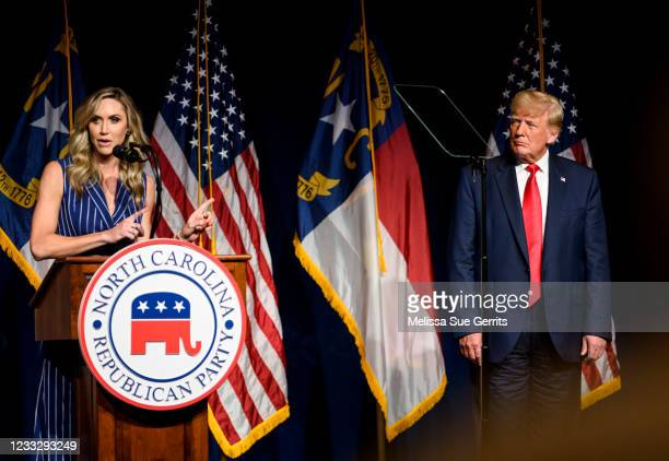 Laura Trump speaks at the NCGOP state convention as former U.S. President Donald Trump on June 5, 2021 in Greenville, North Carolina. Laura Trump put...