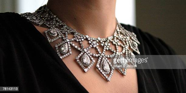 Laura Turnball wears a GBP250000 Cartier Diamond Necklace previously owned by Anne Moen Bullitt which is to be auctioned at Bonhams New Bond Street...