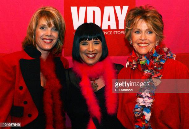 Laura Turner Seydel Eve Ensler and Jane Fonda during VDAY Atlanta 2004 at The CocaCola Roxy Theatre in Atlanta Georgia United States