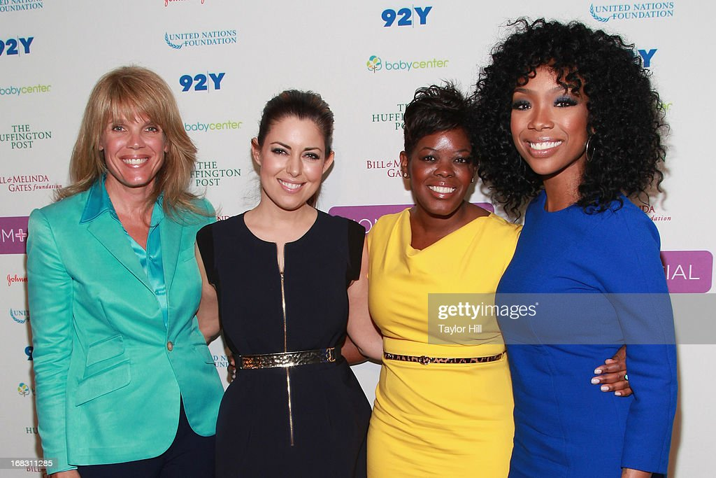 Laura Turner Seydel of The Turner Foundation, TV personality Bobbie Thomas, Tina Wells of Buzz Marketing, and singer Brandy attend the Mom + Social Event at the 92Y Tribeca on May 8, 2013 in New York City.