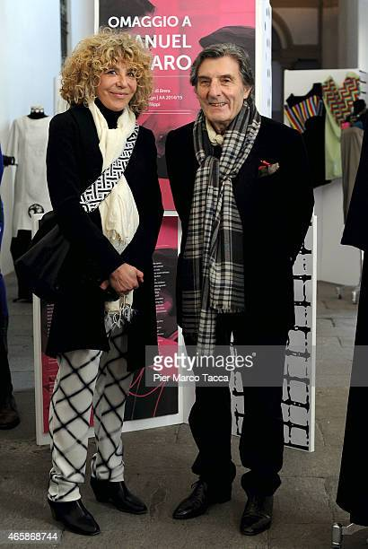 Laura Ungaro and Emanuel Ungaro attend the Exhibition Press Conference 'Omaggio a EmanuelUngaro' on March 11 2015 in Milan Italy