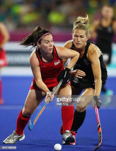 Laura Unsworth of England controls the ball during Women's Semi Final Hockey match between England and New Zealand on day eight of the Gold Coast...
