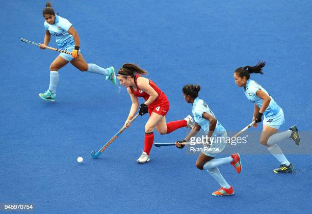 Laura Unsworth of England looks upfield during the Women's Bronze Medal match between England and India during Hockey on day 10 of the Gold Coast...