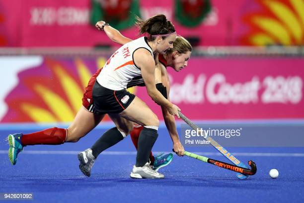 Laura Unsworth of England takes the ball forward during their Womens Hockey match between England and Wales on day two of the Gold Coast 2018...