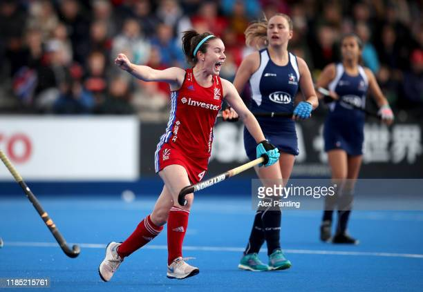 Laura Unsworth of Great Britain celebrates after she scores her sides fourth goal during the Olympic Qualifier match between Great Britain Women and...