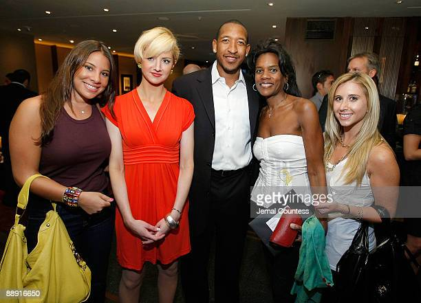 Laura Valencia Tara Walsh Chris Duhon of the New York Knicks Tybie Eloy Dotson and Samantha Chertok attend the launch of the New Elementum Watch...