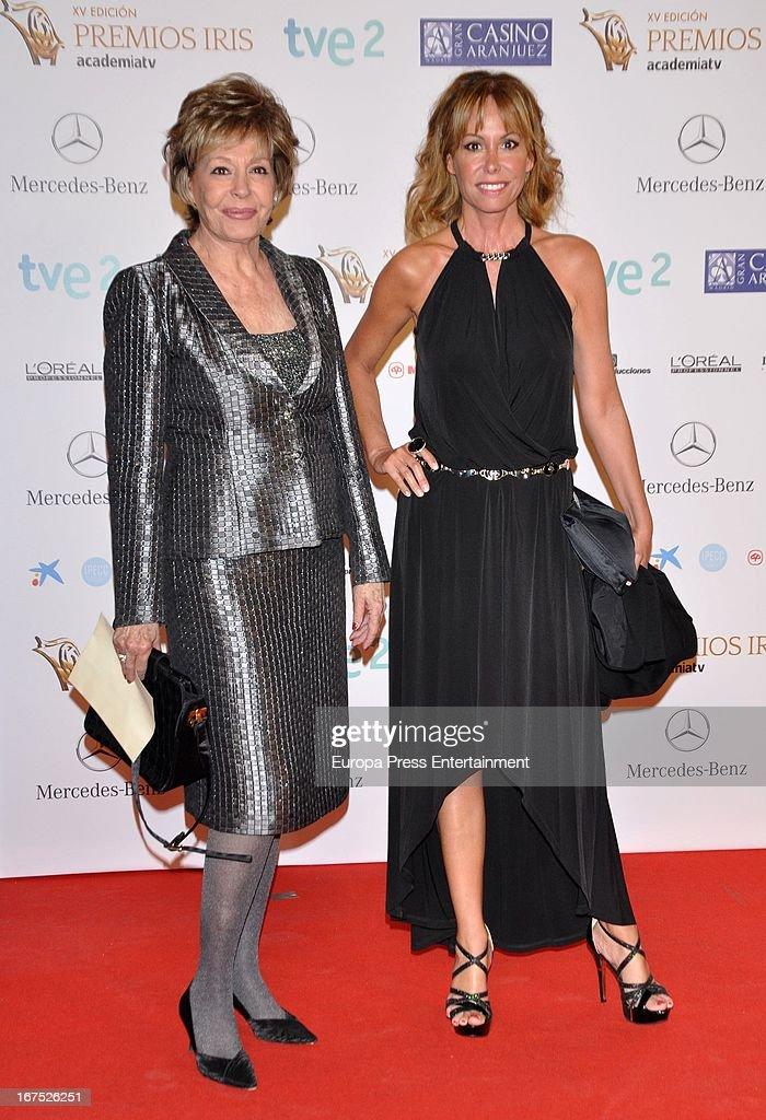 Laura Valenzuela (L) and Lara Dibildos (R) attend Iris Awards 2013 on April 25, 2013 in Madrid, Spain.
