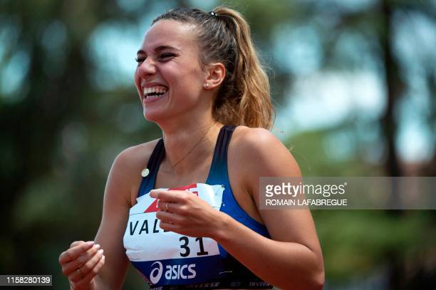 Laura Valette celebrates after winning the women's 100m hurdles final event during the France Athletics Championships 2019 at the HenriLux stadium in...