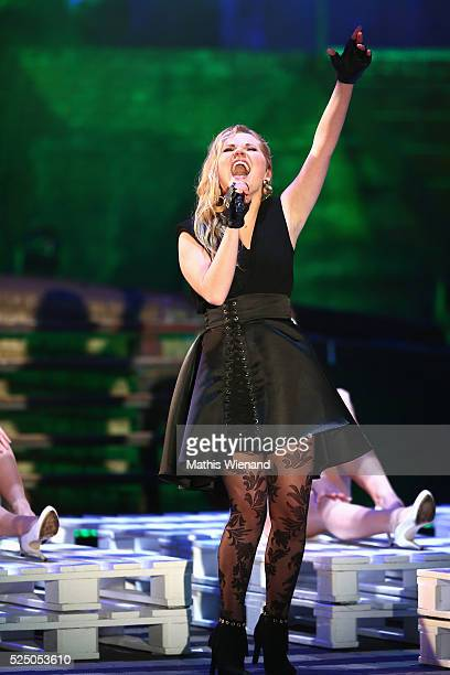 Laura van de Elzen performs during the third event show of the tv competition 'Deutschland sucht den Superstar' at Landschaftspark Duisburg on April...