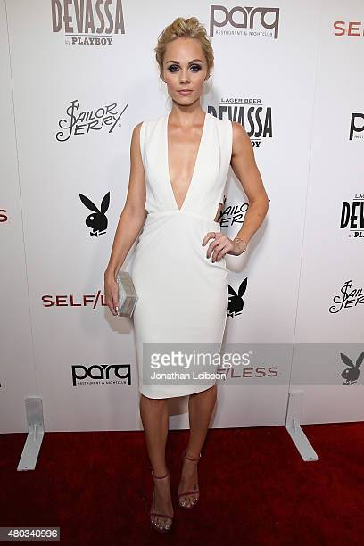 Laura Vandervoort attends the Playboy And Gramercy Pictures' Self/less Party on July 10 2015 in San Diego California