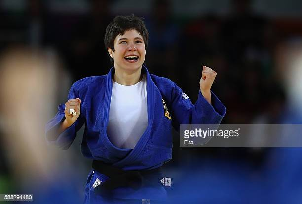 Laura Vargas Koch celebrates after defeating Bernadette Graf of Austria during a Women's 70kg Quarterfinal bout on Day 5 of the Rio 2016 Olympic...