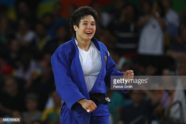 Laura Vargas Koch of Germany celebrates after defeating Maria Bernabeu of Spain during the Women's 70kg Bronze Medal B bout on Day 5 of the Rio 2016...