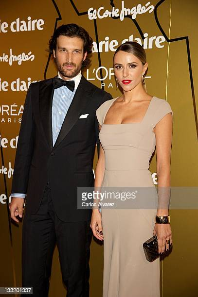 Laura Vecino and husband Rafael Medina attend Marie Claire Prix de la Moda awards 2011 at French Embassy on November 17 2011 in Madrid Spain