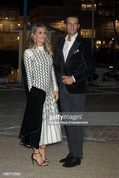 Laura Vecino and Rafael Medina are seen attending Marta Ortega's Wedding preparty at Nautical Club on November 16 2018 in A Coruna Spain