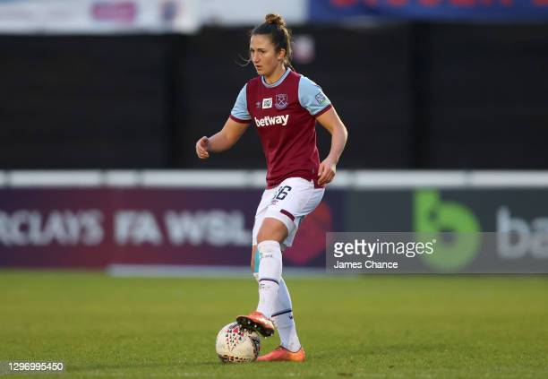 Laura Vetterlein of West Ham United controls the ball during the Barclays FA Women's Super League match between West Ham United Women and Tottenham...