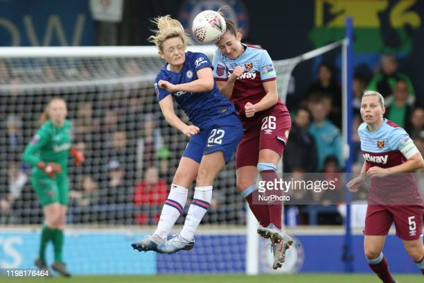 Laura Vetterlein of West Ham United Women and Erin Cuthbert of Chelsea Women going for the header during the Barclays FA Women's Super League match...