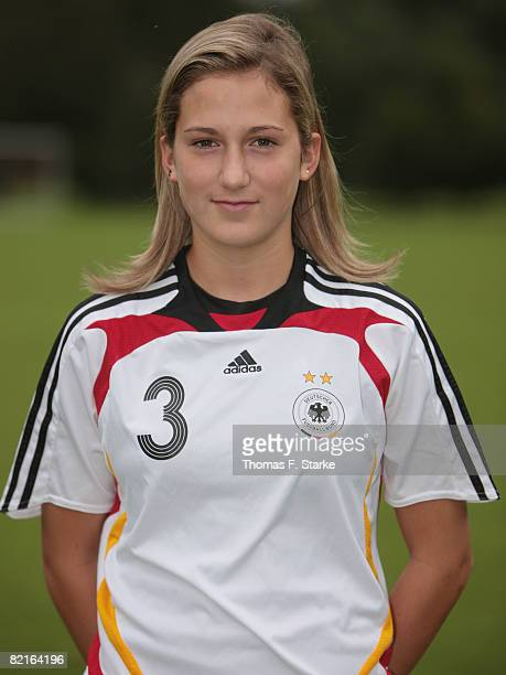 Laura Vetterlein poses during the photo call of the U16 women German national soccer team at the Sportschule Wedau on August 3, 2008 in Duisburg,...