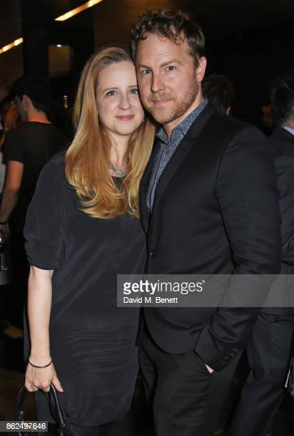 Laura Wade and Samuel West attend the press night after party for 'Venus In Fur' at Mint Leaf on October 17 2017 in London England