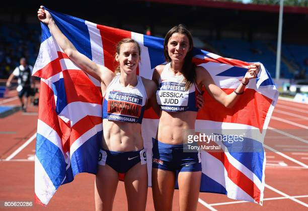 Laura Weightman and Jessica Judd 1st and 2nd place in the Womens 1500m Final during the British Athletics World Championships Team Trials at...
