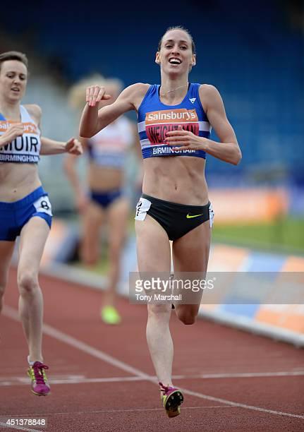 Laura Weightman celebrates winning the Women's 1500m final during the Sainsbury's British Championships Birmingham Day Two at Birmingham Alexander...