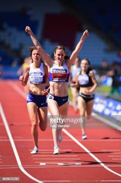Laura Weightman celebrates winning the Womens 1500m Final during the British Athletics World Championships Team Trials at Birmingham Alexander...