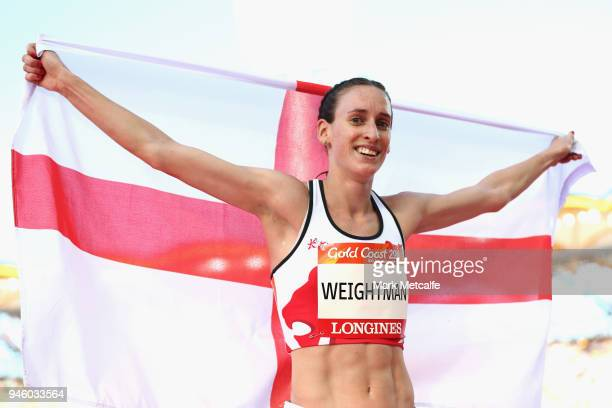 Laura Weightman of England celebrates winning bronze in the Women's 5000 metres final during athletics on day 10 of the Gold Coast 2018 Commonwealth...