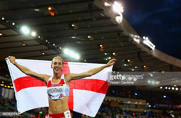 Laura Weightman of England celebrates winning silver in the Women's 1500 metres final at Hampden Park during day six of the Glasgow 2014 Commonwealth...