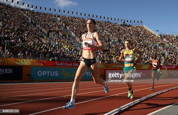 Laura Weightman of England competes in the Women's 5000 metres final during athletics on day 10 of the Gold Coast 2018 Commonwealth Games at Carrara...